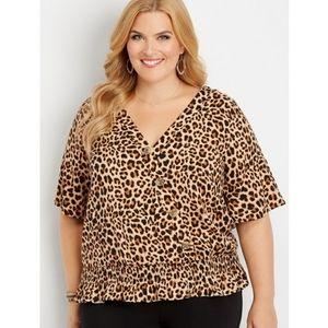 Maurices Leopard Print Blouse Top NWT Kimono Plus